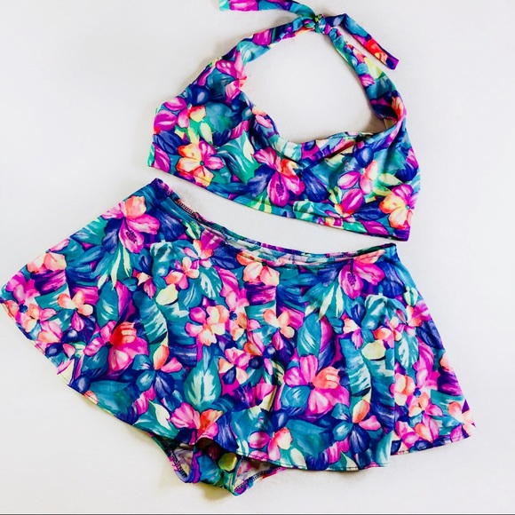 d28e133b456 Le Cove Other - Le Cove 90 s Vintage Graphic Floral Skirted Bikini